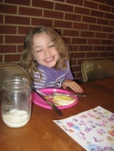 """Maddie with her """"big"""" breakfast reward!"""