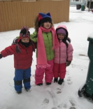Are they playing outside? Yes! They are using their senses, they are learning weather, they are learning how to get along, and how to be self sufficient to put their own snow clothes on.  Learning and having fun all at the same time!